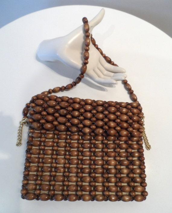 1960's brown wooden bead handbag, lined with zipper - vintage