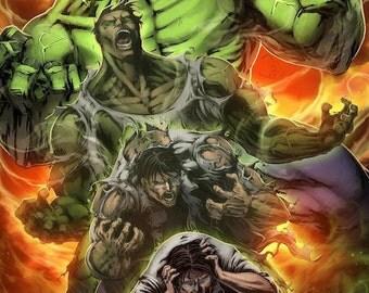 Bruce Banner and The Hulk - Marvel - 11 x 17 Digital Print