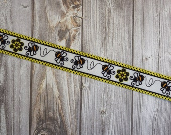 "Bumble bee ribbon - Cute as can be - Buzz buzz bee - Printed grosgrain ribbon - 1"" ribbon - 3 or 5 yard lot - Baby bumble bee - DIY bee"