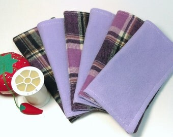 """6"""" x 6"""" flannel cloth wipes SET OF 6"""