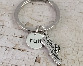 Running shoe keychain, running charm, RUN charm, planner charm, marathon runner, 5K, backpack keyring, cross country runner, track and field