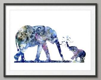Elephant Art Print, Elephant Decor, Elephant Watercolor Art, Elephants, Elephant Wall Decor,Pic no 44