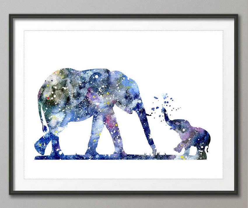 elephant art print elephant decor elephant watercolor art