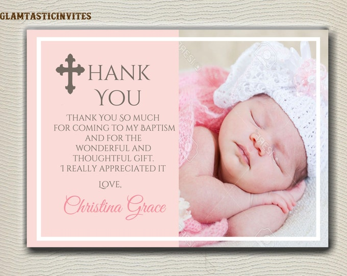 Baptism Thank You Girl, Baptism Thank You Printable, Girl Baptism Thank You, Printable Baptism Thank You, Party Invite Girl, Peach, Pink