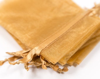 100 Gold Organza Bags   4x6 inch Sheer Bags   Sheer Fabric Bags   Jewelry Pouches    Favor Bags