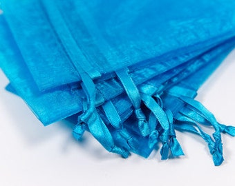 100 Turquoise Organza Bags   4x6 inch Sheer Bags   Sheer Fabric Bags   Jewelry Pouches    Favor Bags