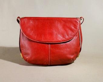 Vintage Red Leather Bag, Shoulderbag, Office Bag, Shoulderpurse, Lady Bag
