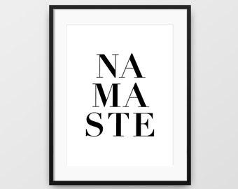 Yoga Art, Namaste, Yoga Wall Art, Printable Yoga Art, Namaste Print, Instant Download, Namaste Wall Art, Namaste Sign, Zen Poster, Namaste