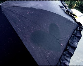 Black and Red Parasol (Umbrella) with Hearts