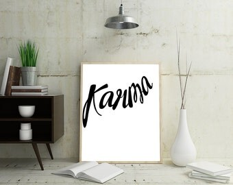 Minimalist Typography Poster, Yoga Wall Print, Karma, Minimalist Typography Quote Art, Art Prints, Minimalist Modern Wall Art, Yoga Poster