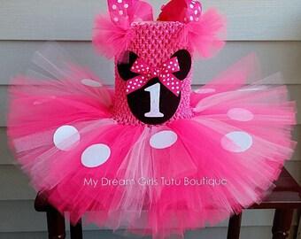 Minnie Mouse tutu dress, Pink minnie mouse dress, minnie mouse birthday dress, minnie mouse smash cake tutu, minnie mouse baby girl dress