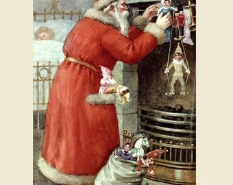 Christmas Santa Claus Merry Christmas Toys Children To all Good Night American Vintage Poster Repro FREE SHIPPING in USA
