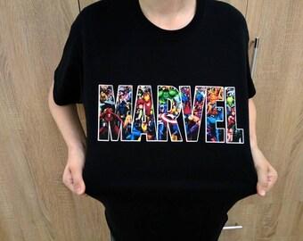 T-shirt Marvel Comics print Tee Tshirt SUPERHERO Theme Birthday  Spiderman, Iron Man, Thor, Captain America, Hulk