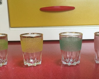 1950s frosted shot glasses. Set of four.