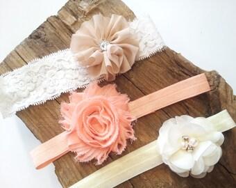 Headbands For Infants, Baby Headband, Newborn flower Headband, Girls Headbands, Ivory Headband, Coral Headband, Baby Headband Set, Hair Bows