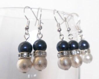 Dark blue pearl earrings, cotton pearl earrings, bridesmaid earrings, dark blue earrings, midnight blue, navy blue, pearl
