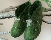 Felt Elf Shoes, Fairy Shoes, Hanging Shoe Decoration, Elfin Shoes, Woodland Fairy Shoes