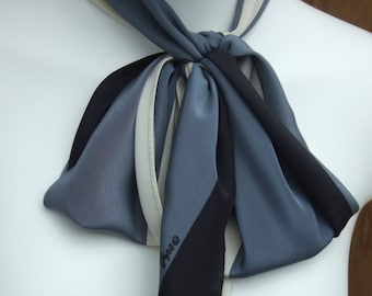 Vintage Long Vera Scarf. Ivory, Grey and Black. Silk and Polyester Mix. Pre Loved.