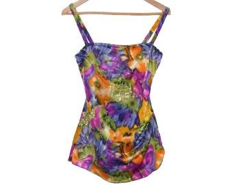Gorgeous Floral Swimsuit - Large - Skirted Front - Boyshort Back - One Piece Swimsuit