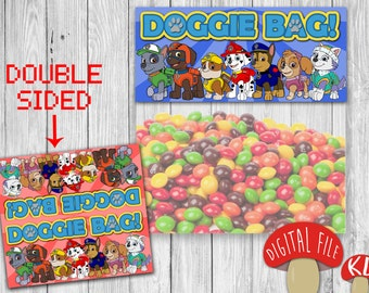 Paw Patrol Candy Bag Favor Topper PRINTABLE - Party Birthday decor - favour tag - instant download - Doggie Treat Bag
