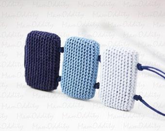 Night sky Crochet necklace Denim color Dark sky Crochet jewelry Space color Dark blue Long necklaces Pendant Navy blue Rectangle shape