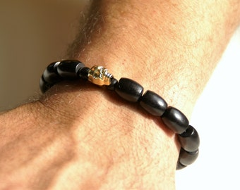 Men's Wood & Gold Skull Bracelet