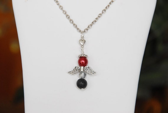 Lava Diffuser Necklace Valentine Angel. Essential Oils Aromatherapy Diffuser Lava Stone Bead. Pearl Angel Necklace.