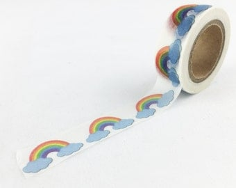 Rainbow with Clouds Washi Tape // 15mm // Paper Tape // BBBsupplies {CR-W-P356}