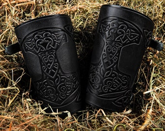 Archery Arm Guards Leather Cuff LARP Bracers Armor Thor's Hammer Mjolnir Vikings Talisman Amulet Nordic Carving Leather: a pair