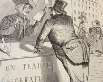 Antique French Engraving Print/Political Cartoon/Black and White/Satire/Frameable/Grande Baisse de Prix/ Le Journal