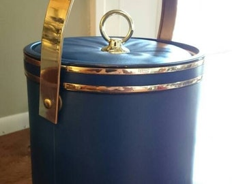 Vintage 1980s Ice bucket Navy and Gold