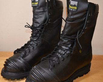 Matterhorn Ladies Mining 12256 Waterproof Black Leather Steel Toe Boots US9M UK7.5 Biker Gore-Tex Made in USA