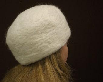 Needle-Felted White Wool Hat