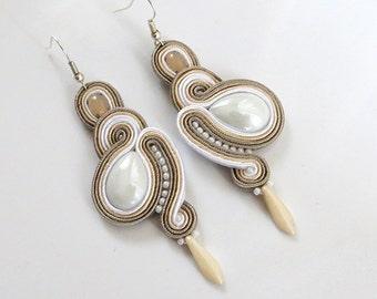 Beige Earrings ecru earrings soutache Earrings beige chandelier earrings white earrings long chandelier earrings
