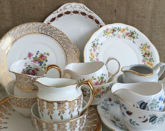 Job Lot Vintage China - 15 Mix and Match China Cake Plates, Creamer Milk Jugs, China Sugar Bowls for Weddings, Events, Cafes and Tea Parties