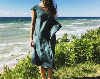 Linen dress, midi linen dress, summer dress, dress with pockets, linen dress in sea blue,
