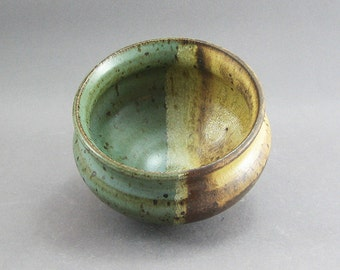 Pottery Small Bowl Yellow Salt & Green FF15