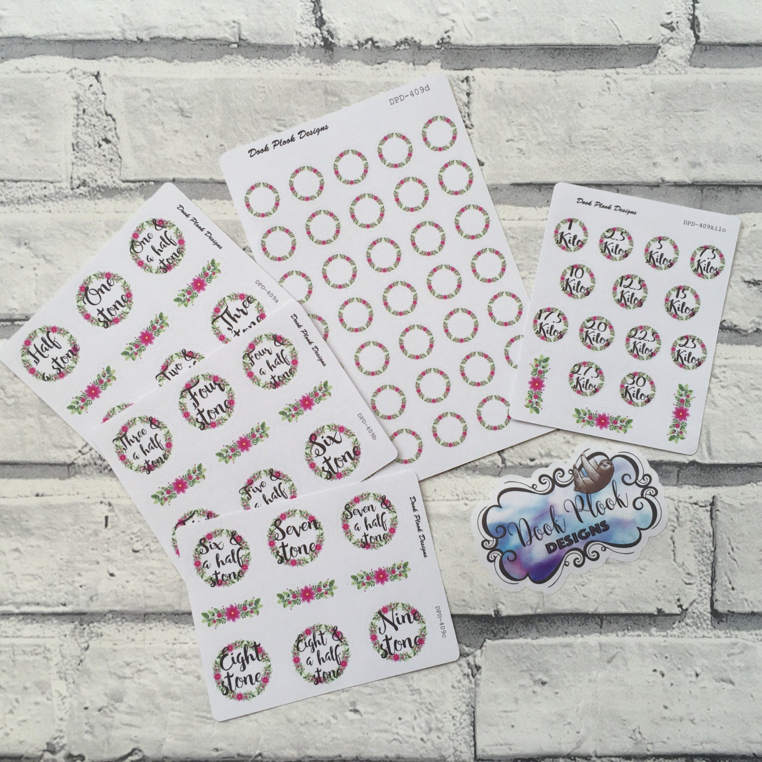 Weight loss milestone stickers for Erin Condren, Plum ...