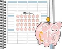 24 British Pound Piggy Bank Stickers (GBP) | Planner Erin Condren Plum Planner Filofax Sticker