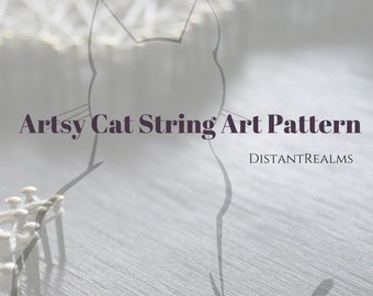 Cat String Art Pattern and Instructions | Elegant Cat String Art Template | DIY String Art