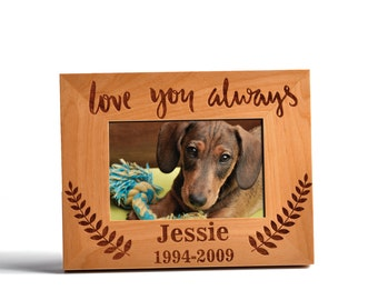 personalized pet memorial adler wood photo frame love you always custom urn memorial pets wood frame - Dog Memorial Frame