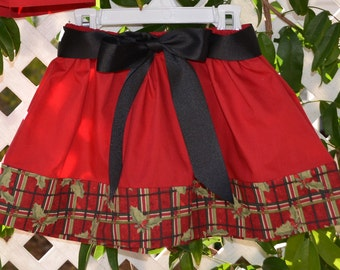 Girl's Plaid Skirt with Black Ribbon Belt/ Size 3T and 4T