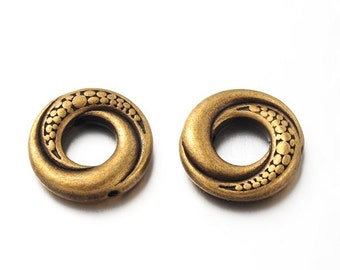 Antique Bronze Tibetan Style 15mm Donuts/Bead Frames (Set of 50)