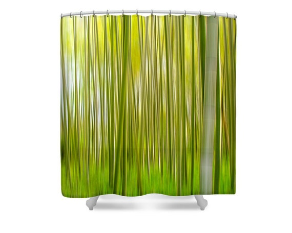 Items similar to green shower curtain bamboo shower for Bathroom decor nature