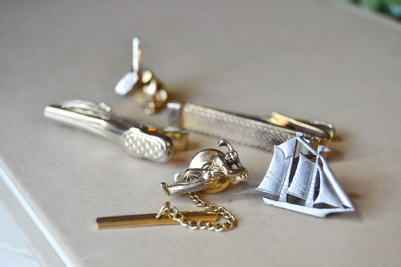 items similar to vintage lot of tie clips and pin jewelry On jewelry making supplies tie clip