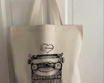 Love fiction Typewriter tote bag