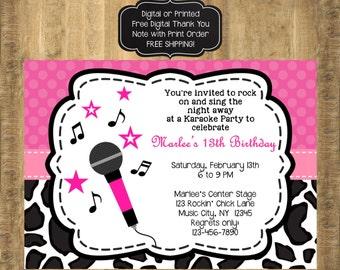 Karaoke Invitation, Karaoke Invite, Karaoke Party, Karaoke Birthday,Pink and Black Invitation, Music Birthday Invitation, FREE SHIPPING
