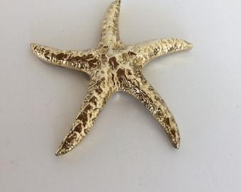 Brass Starfish Paperweight-Brass Seashell