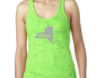State of New York Native Borned and Raised Women's Burnout Tank