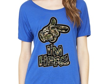 I'm Hers Camo Cute Couple Slouchy Tee
